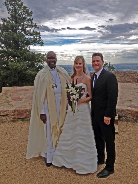 """The ceremony took place in a mountain pavilion that overlooked the city of Boulder and the University of Colorado."""
