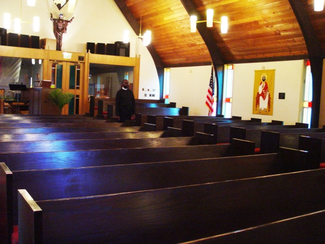 Pastor Tim in the sanctuary at St. Luke Lutheran Church
